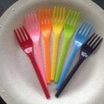 Susty Party Compostable Starch Plate (in Natural) and fork PLA cutlery (in assorted colors)