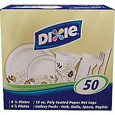 Dixie® All-in-One Tableware Combo Pack (Plates, cups and cutlery packs with patterned paperware)